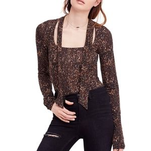 Free People Wild Thing Leopard Neck Tie Top